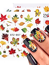 cheap -5pcs Fall Leaves Nail Art Stickers Gold Yellow Maple Leaf Water Decals Sliders Foil Autumn Design For Nail Manicure