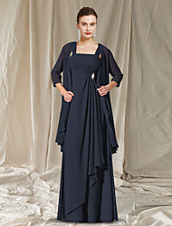 cheap -Two Piece A-Line Mother of the Bride Dress Elegant Jewel Neck Floor Length Chiffon Sleeveless with Pleats 2021