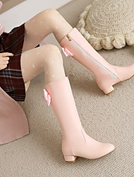 cheap -Women's Boots Cuban Heel Round Toe Mid Calf Boots Wedding Daily PU Rhinestone Bowknot Solid Colored Pink White Black / Mid-Calf Boots