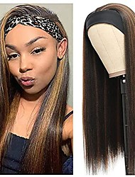 cheap -Headband Wig for Women Kinky Straight, Synthetic Wigs with Headbands Attached, None Lace Machine Made for Daily Use (20Inch, Kinky Straight 1B/30)