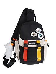 cheap -Men's Unisex Bags Oxford Cloth Nylon Sling Shoulder Bag Buttons Zipper Solid Color Daily Outdoor Canvas Bag Tote Bum Bag Black / White Blue Black