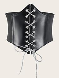 cheap -Women's Wide Belt Daily Dress Black White Belt Solid Color