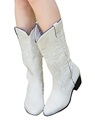 cheap -Women's Boots Flat Heel Round Toe Crotch High Boots Daily PU Flower Jeans White Black Brown