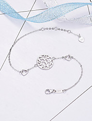 cheap -Women's Clear Bracelet Geometrical Heart Stylish Simple Silver Plated Bracelet Jewelry Silver For Daily Promise