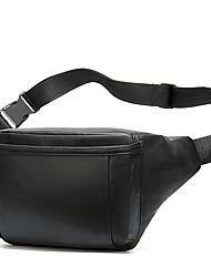 cheap -Men's Bags Sheepskin Fanny Pack Zipper Daily Outdoor Messenger Bag Black