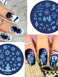 cheap -1pcs Christmas Halloween Nail Stamping Plates Snowflake Deer Skull Spider Gel Polish Steel Plate Winter Manicure