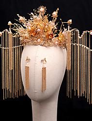 cheap -1 Piece Headdress Chinese Bridal Hair Accessories Set Tassel Phoenix Coronet Costume Style Wedding Accessories