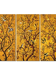 cheap -3 Panels Wall Art Canvas Prints Painting Artwork Picture Gold Rich Tree  Home Decoration Decor Rolled Canvas No Frame Unframed Unstretched