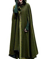 cheap -Women's Cloak Capes Street Fall Winter Long Coat Regular Fit Windproof Fashion Fashion Jacket Sleeveless Solid Color Hooded Blue Gray