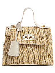 cheap -Women's Bags PU Leather Straw Bag Chain Solid Color Daily Date Straw Bag Handbags Blushing Pink White Black Brown