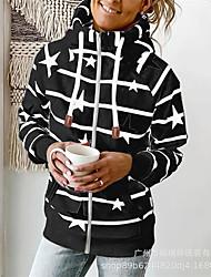 cheap -Women's Hoodie Sweatshirt Striped Stars Zipper Front Pocket Print Daily Sports Active Streetwear Hoodies Sweatshirts  White Black