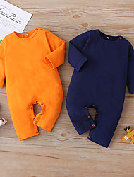 cheap -Baby Unisex Romper Basic Cotton Purple Orange Solid Colored Long Sleeve / Fall