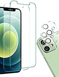 cheap -youngkits 2 pack tempered glass screen protector compatible for iphone 12 mini 5.4 inch + 2 pack camera lens protector, case friendly protective film, 9h hardnes - hd -bubble free - scratch-resistant