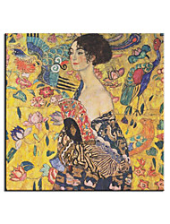 cheap -Oil Painting Handmade Hand Painted Wall Art Gustav Klimt Famous Lady With Fan Contemporary Abstract Home Decoration Decor Rolled Canvas No Frame Unstretched