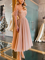 cheap -Women's A Line Dress Midi Dress Purple Apricot Sleeveless Solid Color Cold Shoulder Spring Summer Off Shoulder Party Elegant Casual Party Holiday Regular Fit 2021 S M L XL