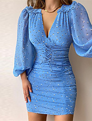 cheap -Women's A Line Dress Short Mini Dress Blue Long Sleeve Solid Color Lace up Print Fall Winter V Neck Work Casual Sexy Regular Fit 2021 S M L XL