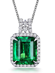 cheap -Pendant Necklace Necklace Women's Classic Cubic Zirconia Silver Plated Simple Fashion Classic Casual / Sporty Sweet Cute Peacock Green 45 cm Necklace Jewelry 1pc for Street Gift Daily Prom Festival