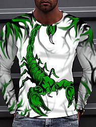 cheap -Men's T shirt Scorpion Animal Print Long Sleeve Street Regular Fit Tops Sportswear Casual Fashion Comfortable Green White Black
