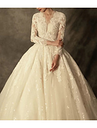 cheap -A-Line Wedding Dresses Jewel Neck Sweep / Brush Train Lace Tulle Long Sleeve Vintage Luxurious with Appliques 2021