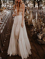cheap -A-Line Wedding Dresses Plunging Neck Floor Length Tulle Sleeveless Beach Sexy with Appliques 2021