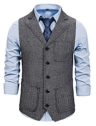 cheap -Men's Vest Business Daily Fall Winter Regular Coat Single Breasted One-button Turndown Regular Fit Thermal Warm Windproof Warm Business Streetwear Jacket Sleeveless Plain Pocket Patchwork Gray Khaki