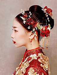 cheap -1 Piece Bride Xiuhe Headdress Red Chinese Tassel Toast Dress Antique Exquisite Phoenix Crown All-match Wedding Jewelry