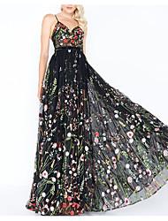 cheap -Women's Swing Dress Maxi long Dress Black Sleeveless Floral Print Fall Winter Spaghetti Strap Elegant Sexy 2021 S M L XL / Party / Holiday / Slim