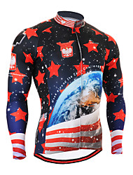 cheap -21Grams Men's Long Sleeve Cycling Jersey Spandex Red Galaxy Stripes Stars Bike Top Mountain Bike MTB Road Bike Cycling Quick Dry Moisture Wicking Sports Clothing Apparel / Stretchy / Athleisure