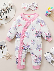 cheap -Baby Girls' Jumpsuits Active Basic Outdoor Cotton White Plants Floral Color Block Print Long Sleeve / Fall / Spring
