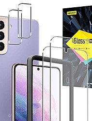 cheap -[2+2 pcs]  samsung galaxy s21 5g screen protector, 6.2 inch 2 pack tempered glass screen protector and 2 pack camera lens protector, 9h hardness - hd, bubble-free - scratch resistant