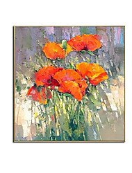 cheap -Oil Painting Handmade Hand Painted Wall Art Square Modern Abstract Orange Flowers Landscape Home Decoration Decor Rolled Canvas No Frame Unstretched
