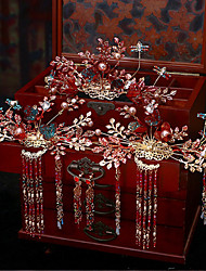 cheap -1 Piece Bridal Headdress Chinese Style Red Phoenix Coronet Costume Hair Accessories Set Sedding Clothing Dragon And Phoenix Gown Accessories
