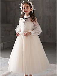 cheap -Princess Ankle Length Flower Girl Dresses Party POLY Long Sleeve High Neck with Ruffles