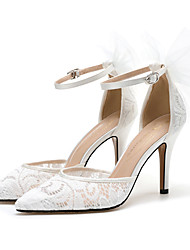 cheap -Women's Wedding Shoes Pumps Pointed Toe Wedding Office Lace Satin Satin Flower Floral White