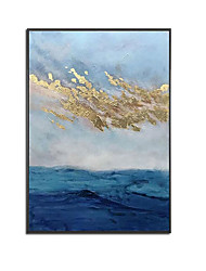 cheap -Oil Painting Handmade Hand Painted Wall Art Blue Gold Foil Abstract Room Pictures Home Decoration Decor Stretched Frame Ready to Hang
