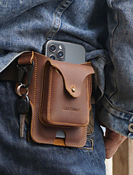 cheap -Men's Genuine Leather Waist Pack Cell Phone Bag Waist Bag Key Ring Casual / Daily Coffee color Brown