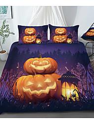 cheap -Print Home Bedding Duvet Cover Sets Soft Microfiber For Kids Teens Adults Bedroom Halloween Pumpkin 1 Duvet Cover + 1/2 Pillowcase Shams