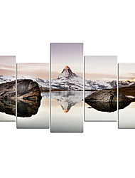 cheap -5 Panels Wall Art Canvas Prints Painting Artwork Picture Mountain Painting Home Decoration Decor Rolled Canvas No Frame Unframed Unstretched