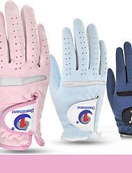 cheap -Golf Glove Golf Full Finger Gloves Women's Anti-Slip UV Sun Protection Breathable Faux Suede Suede Outdoor Dark Blue Light Blue Light Pink / Sweat wicking