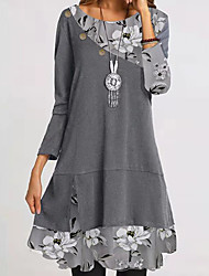 cheap -Women's A Line Dress Midi Dress Gray Long Sleeve Floral Patchwork Print Fall Winter Round Neck Basic Casual Holiday 2021 S M L XL XXL / Loose