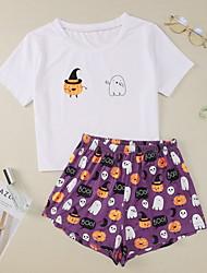 cheap -Women's Pajamas Sets Home Halloween Daily Elastic Waist Cartoon Polyster Helloween Funny Soft T shirt Shorts Spring Summer Short Sleeve Short Pant Not Specified