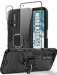cheap -[3p]  oneplus nord n200 5g case & tempered glass screen protector & camera protector for 1+ nord n200, protective case with rotate holder kickstand and magnetic plate for oneplus nord n200 (black)