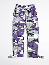 cheap -Men's Stylish Casual Cargo Streetwear Comfort Outdoor Jogger Tactical Cargo Cotton Loose Casual Daily Pants Camouflage Full Length Classic Pocket Multiple Pockets Purple Camouflage White Black