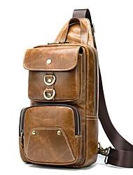 cheap -Men's Bags Nappa Leather Cowhide Sling Shoulder Bag Zipper Daily Retro Brown