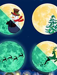 cheap -30cm Glow-in-the-dark Moon Christmas Snowman Pine Deer Moon Send Blessing Glow-in-the-dark Moon Wall Stickers