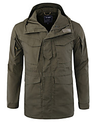 cheap -Men's Trench Coat Raincoat Shell Jacket Outdoor Hiking Fall Winter Regular Coat Zipper Stand Collar Regular Fit Waterproof Lightweight Sporty Casual Jacket Long Sleeve Solid Color Camo / Camouflage