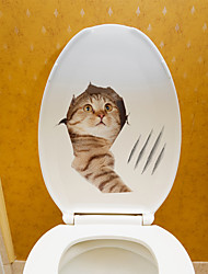 cheap -Cat Cartoon Wall Stickers Toilet Stickers Kids Room Kindergarten Toilet Removable Pre-pasted PVC Home Decoration Wall Decal 1pc