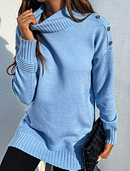 cheap -Women's Pullover Sweater Knitted Solid Color Stylish Long Sleeve Regular Fit Sweater Cardigans Turtleneck Fall Winter Blue Gray Khaki
