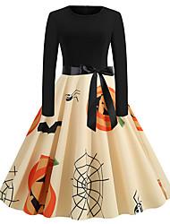 cheap -Women's Swing Dress Knee Length Dress Black Long Sleeve Skull Bat Spider web Bow Print Fall Winter Round Neck Vintage Christmas Halloween 2021 S M L XL XXL