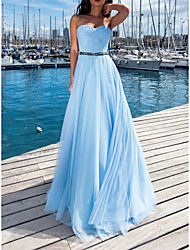 cheap -A-Line Empire Elegant Wedding Guest Formal Evening Dress Strapless Sleeveless Floor Length Tulle with Beading 2021